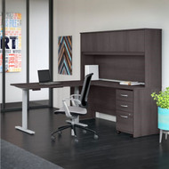 "Bush Business Furniture Studio C Desk and Height Adjustable Return Package 72"" Storm Gray - STC018SG"