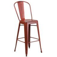 "Flash Furniture Distressed Kelly Red Metal Indoor-Outdoor Bar Height Chair 30""H - ET-3534-30-RD-GG"