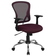 Flash Furniture Mid-Back Burgundy Mesh Office Chair with Chrome Finished Base - H-8369F-ALL-BY-GG