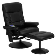 Flash Furniture Massaging Leather Recliner and Ottoman with Leather Wrapped Base - BT-7320-MASS-BK-GG