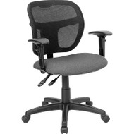 Flash Furniture Mid Back Mesh Task Chair with Gray Fabric Seat and Arms - WL-A7671SYG-GY-A-GG