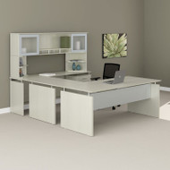 "Mayline Medina Laminate Executive 72"" U-Shaped Desk Package Textured Sea Salt - MNT39TSS"