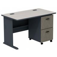 "Bush Business Furniture Series A Desk with 2-drawer Mobile Pedestal Slate and White Spectrum 48""W - SRA030SLSU"