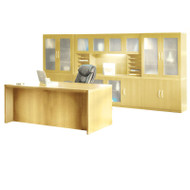 Mayline Aberdeen Executive Desk & Storage Cabinet Package Maple - AT35-LMA