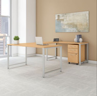 "Bush Business Furniture 400 Series U-Shaped Table Desk 60"" x 30"" w 3 Drawer Mobile Pedestal, Natural Maple -  400S161AC"