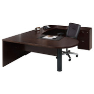 Mayline Mira U-Shaped Desk with File/File Pedestal Espresso - MEU4