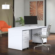 "Bush Business Furniture Studio C Bow Front Desk with 2 Pedestals 72"" White - STC012WH"