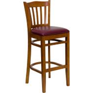 Flash Furniture Wood Vertical Back Barstool with Natural Finish and Burgundy Vinyl Seat - XU-DGW0008BARVRT-NAT-BURV-GG