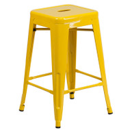 """Flash Furniture Yellow Metal Indoor-Outdoor Counter Height Stool 24""""H - CH-31320-24-YL-GG"""