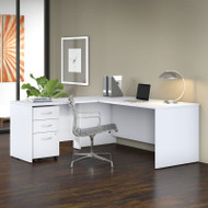 "Bush Business Furniture Studio C Desk L-Shaped Package 72"" White - STC007WH"