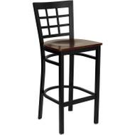 Flash Furniture Window Back Metal Restaurant Barstool with Mahogany Wood Seat - XU-DG6R7BWIN-BAR-MAHW-GG