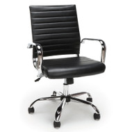 OFM Essentials Ribbed Leather Executive Office Chair Black - ESS-6095-BLK