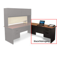 "Marvel Desk Return, Single Pedestal, Non-handed 48"" Black/Mahogany - PRR4824SP_BKMA"