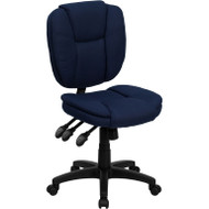 Flash Furniture Mid Back Navy Blue Fabric Multi-functional Ergonomic Task Chair - GO-930F-NVY-GG