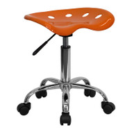 Flash Furniture Vibrant OrangeTractor Seat and Chrome Stool  - LF-214A-ORANGEYELLOW-GG
