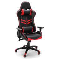 OFM Essentials High-Back Black Leather Racing Style Gaming Chair with Red Accents - ESS-6065-RED