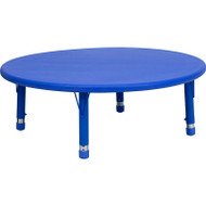 Flash Furniture 45'' Round Height Adjustable Blue Plastic Activity Table YU-YCX-005-2-ROUND-TBL-BLUE-GG
