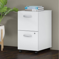 Bush Business Furniture Studio C Mobile File Pedestal 2-Drawer Assembled White - SCF116WHSU