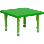 Flash Furniture 24'' Square Height Adjustable Green Plastic Activity Table - YU-YCX-002-2-SQR-TBL-GREEN-GG