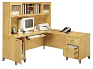 "Bush Somerset Collection L-Shaped Desk with Hutch Package 71"" Maple Cross - WC81410-11"