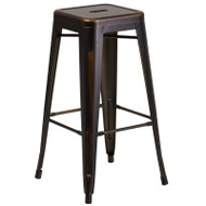 "Flash Furniture Distressed Copper Metal Indoor-Outdoor Barstool 30""H - ET-BT3503-30-COP-GG"