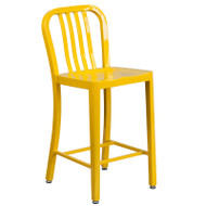 """Flash Furniture Yellow Metal Indoor-Outdoor Counter Height Stool 24""""H (2-Pack) - CH-61200-24-YL-GG"""