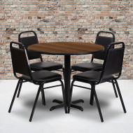 Flash Furniture 36'' Round Laminate Walnut Table Set with 4 Banquet Chairs - HDBF1004-GG