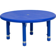 Flash Furniture 33'' Round Height Adjustable Blue Plastic Activity Table YU-YCX-007-2-ROUND-TBL-BLUE-GG