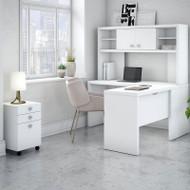 "Bush Echo L-Shaped Desk with Hutch and Pedestal File 60"" -  ECH009PW"