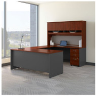 "Bush Business Furniture Series C Executive U-Shaped Desk 72"" with Hutch and Storage Package Hansen Cherry - SRC094HCSU"
