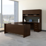 Bush Business Furniture Series C Package Executive U-Shaped Desk with Hutch and Storage Package Mocha Cherry - SRC094MRSU