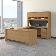Bush Business Furniture Series C Package U-Shaped Desk with Hutch and Storage Package Light Oak - SRC094LOSU
