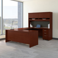 Bush Business Furniture Series C Package U-Shaped Desk with Hutch and Storage Package Mahogany - SRC094MASU