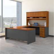 Bush Business Furniture Series C Package U-Shaped Desk with Hutch and Storage Package Natural Cherry - SRC094NCSU