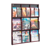 Safco Expose 9 Magazine 18 Pamphlet Display, Mahogany/Black - 5702MH