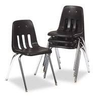 Virco 9000 Series Classroom Chair, Black w/ Chrome Frame (4-Pack) - 901801
