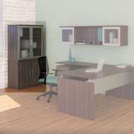 Mayline Medina Laminate Storage Cabinet with Glass Hutch Gray Steel - MSC-MGDC-LGS
