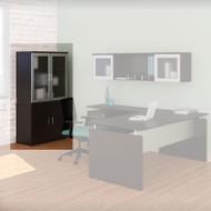 Mayline Medina Laminate Storage Cabinet with Glass Hutch Mocha - MSC-MGDC-LDC