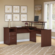 "Bush Cabot Collection L-Shaped Sit to Stand Desk 60""W 3 Position Harvest Cherry - CAB043HVC"