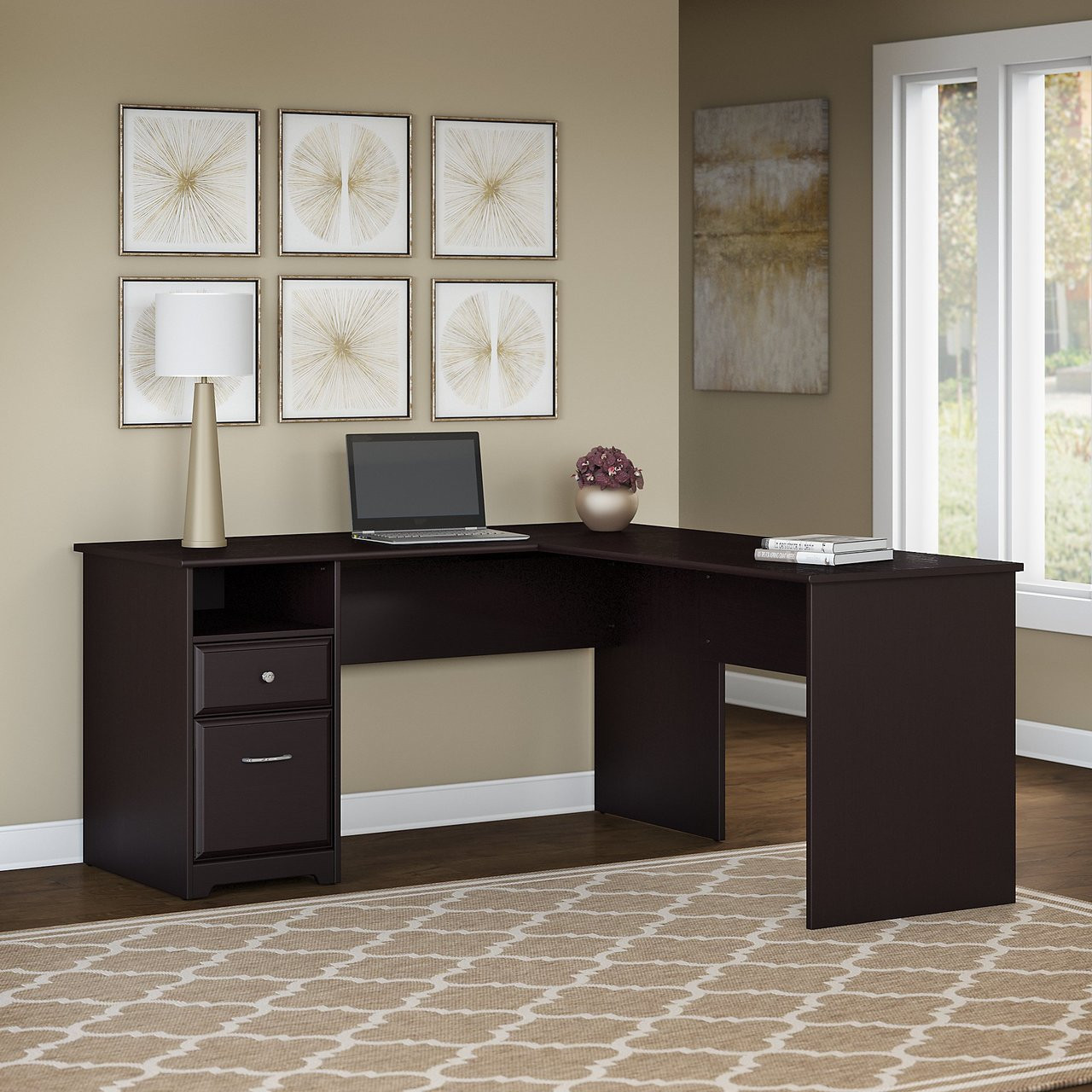 promo code ad767 6e5a2 Bush Cabot Collection L-Shaped Computer Desk with Drawers 60