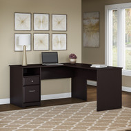 "Bush Cabot Collection L-Shaped Computer Desk with Drawers 60""W Espresso Oak - CAB044EPO"