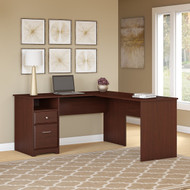 "Bush Cabot Collection L-Shaped Computer Desk with Drawers 60""W Harvest Cherry - CAB044HVC"