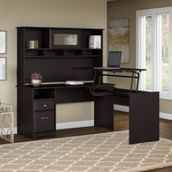 "Bush Cabot Collection L-Shaped Sit to Stand Desk with Hutch 60""W 3 Position Espresso Oak - CAB045EPO"