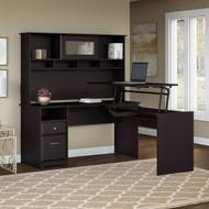 "Bush Cabot Collection L-Shaped Sit to Stand Desk with Hutch 60""W 3 Position Espresso Oak - CAB045EPO"
