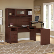 "Bush Cabot Collection L-Shaped Sit to Stand Desk with Hutch 60""W 3 Position Harvest Cherry - CAB045HVC"
