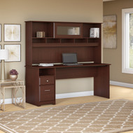 "Bush Cabot Collection Computer Desk with Hutch and Drawers 60""W Harvest Cherry - CAB049HVC"