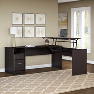 "Bush Cabot Collection L-Shaped Sit to Stand Desk 72""W 3 Position Espresso Oak - CAB050EPO"