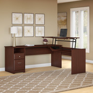 "Bush Cabot Collection L-Shaped Sit to Stand Desk 72""W 3 Position Harvest Cherry - CAB050HVC"
