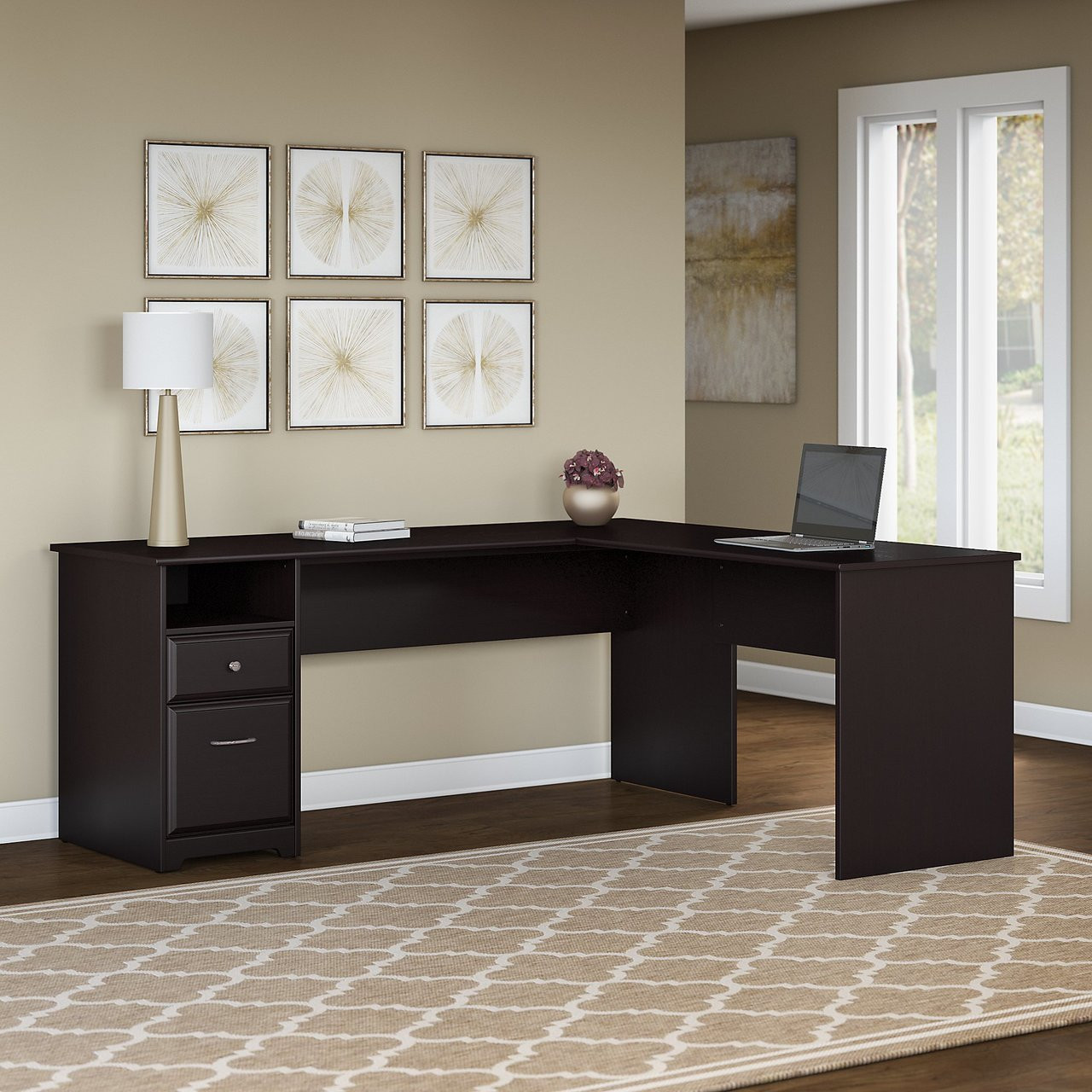 Bush Cab051epo Cabot L Shaped Computer Desk With Drawers 72 W Free Shipping