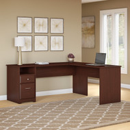 "Bush Cabot Collection L-Shaped Computer Desk with Drawers 72""W Harvest Cherry - CAB051HVC"
